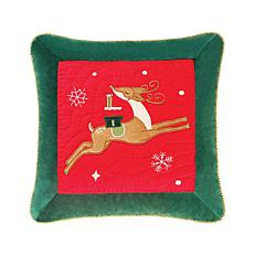 Deer with Gifts Quilted Pillow