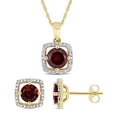 Delmar 10K Gold Garnet and Diamond Pendant Necklace and Earring Set