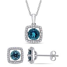 Delmar 10K Gold London Blue Topaz & Diamond Pendant Necklace/Earrings