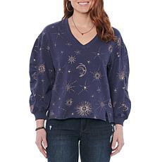 Democracy 3/4 Ruched Sleeve V-Neck Hi-Low Foil Print Sweatshirt