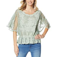 Democracy Mineral Wash Butterfly Sleeve Crochet Top