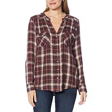 Democracy Plaid Woven Button Front Top