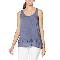 Democracy Swiss Dot Flounce-Hem Tank