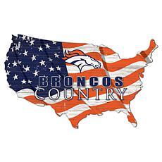 Denver Broncos USA Shape Flag Cutout