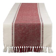 "Design Imports 13"" x 72"" Striped Fringe Ribbed Table Runner"