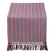 "Design Imports 14"" x 72"" Red White and Blue Dobby Stripe Table Runner"