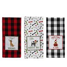 Design Imports 3-piece Christmas Puppy Embellished Kitchen Towel Set