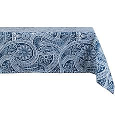 "Design Imports 60"" x 84"" Blue Paisley Print Outdoor Tablecloth"