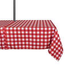 "Design Imports 60"" x 84"" Red Check Outdoor Tablecloth with Zipper"