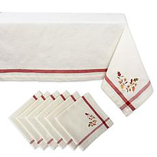 Design Imports 7-Piece Natural Embroidered Fall Leaves Tablecloth Set
