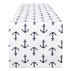 "Design Imports Anchors Away Print 14"" x 108"" Table Runner"