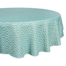 "Design Imports Aqua Diamond Outdoor Round Tablecloth - 60"""