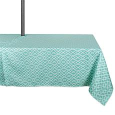 "Design Imports Aqua Diamond Outdoor Tablecloth w/Zipper - 60"" x 84"""