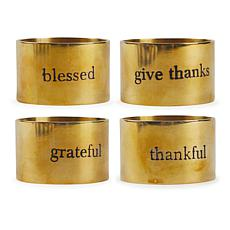 Design Imports Assorted Always Grateful Napkin Ring Set of 4