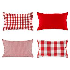 """Design Imports Assorted Pillow Covers 12"""" x 20"""" Set of 4"""