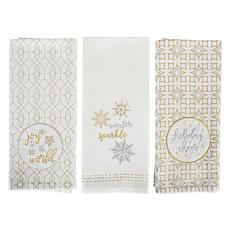 Design Imports Assorted Winter Sparkle Kitchen Towel Set of 3