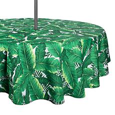 Design Imports Banana Leaf Outdoor Round Tablecloth With Zipper - 52""