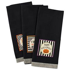 Design Imports Black All Hallows Eve Kitchen Towel Set of 3