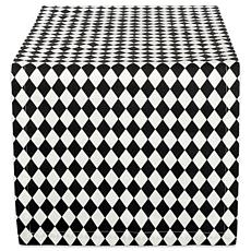 "Design Imports Black and Cream Harlequin Table Runner 14"" by 108"""