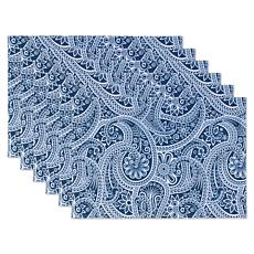 Design Imports Blue Paisley Print Outdoor Reversible Placemat Set of 6