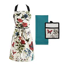 Design Imports Botanical Apron Kitchen Set of 3