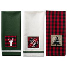 Design Imports Christmas Fireside Embroidered Kitchen Towel Set of 3