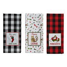 Design Imports Christmas Kitty Embellished Kitchen Towel Set of 3