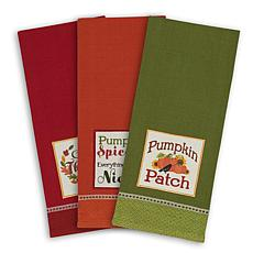 Design Imports Country Pumpkin Kitchen Towels Set of 3