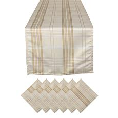 Design Imports Cream Metallic Plaid Table Set