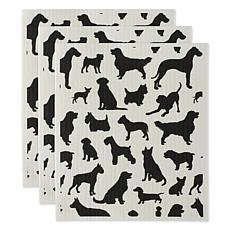 Design Imports Dogs Swedish Dishcloths 3-pack