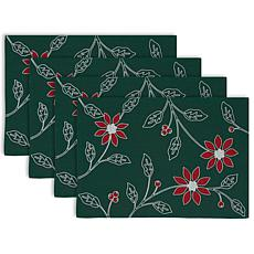Design Imports Embroidered Poinsettia Placemats Set of 4