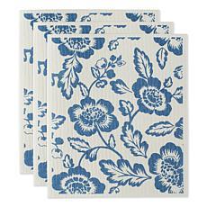 Design Imports Floral Swedish Dishcloths 3-pack