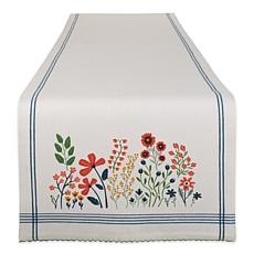 "Design Imports Flower Garden Embellished Table Runner - 14"" x 72"""