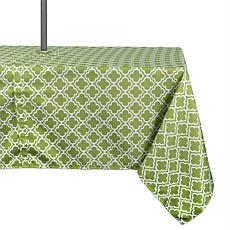 "Design Imports Green Lattice Outdoor Tablecloth w/Zipper - 60"" x 120"""