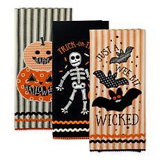 Design Imports Halloween Embellished Kitchen Towel Set of 3