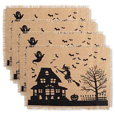 Design Imports Haunted House Burlap Placemats Set of 4