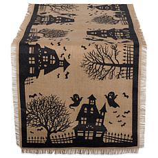 Design Imports Haunted House Burlap Table Runner 15-inch x 74-inch
