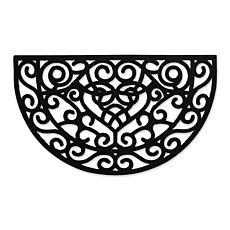 Design Imports Heart Scroll Half Moon Pin Rubber Doormat