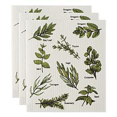 Design Imports Herbs Swedish Dishcloths 3-pack