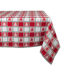 Design Imports Holiday Trees Woven Check Tablecloth 60-inch x 84-inch