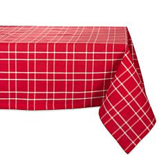 Design Imports Holly Berry Farmhouse Plaid Tablecloth 60-in x 84-in