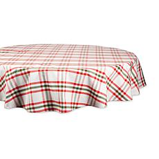 "Design Imports Nutcracker Plaid Tablecloth - 70"" Round"