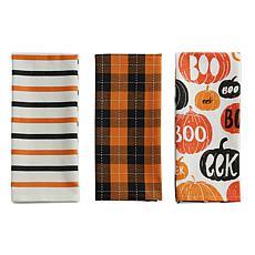 Design Imports Pumpkin Boo! Embellished Kitchen Towel Set of 3