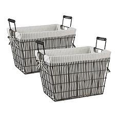 Design Imports Set of 2 Farmhouse Black Wire Basket