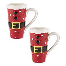 Design Imports Set of 2 Santa Belt Tall Ceramic Mugs