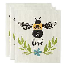 Design Imports Set of 3 Bee Kind Swedish Dishcloths