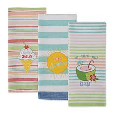 Design Imports Summer Fun Embellished Kitchen Towel Set 3-pack