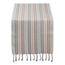 "Design Imports Tonal Stripe with Fringe Table Runner - 14"" x 72"""