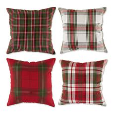 Design Imports Traditional Christmas Plaid Pillow Covers 18x18 Set of4