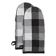 Design Imports Tri-Color Check Oven Mitts 2-Pack
